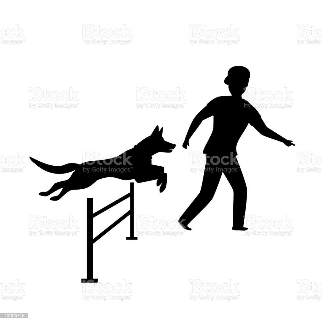 agility dog training silhouette graphic vector art illustration