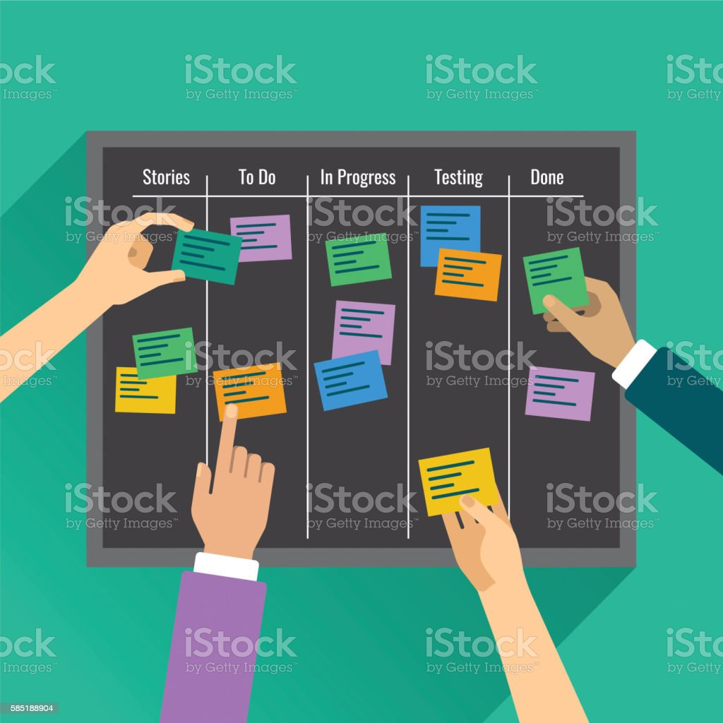 Agility is reached by effective task management with the help vector art illustration