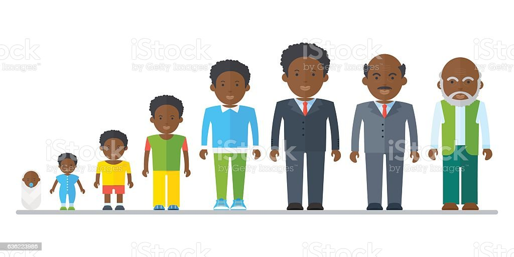 aging concept of african male vector art illustration