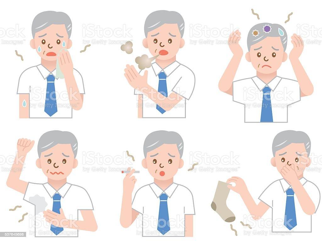 aging odor businessman vector art illustration