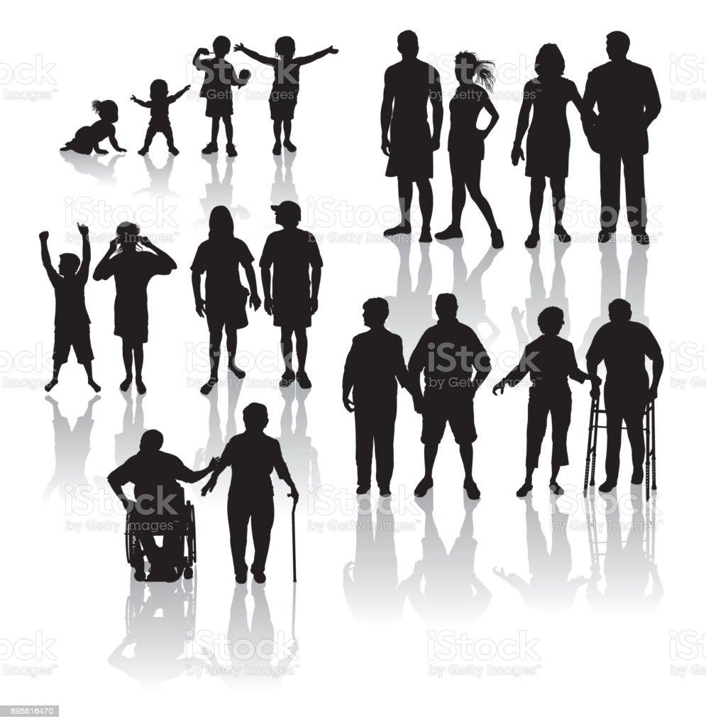 Aging Population - People getting older vector art illustration