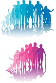 """Tight graphic silhouette illustrations of the aging process. Check out my """"Family Matters"""" light box for more."""