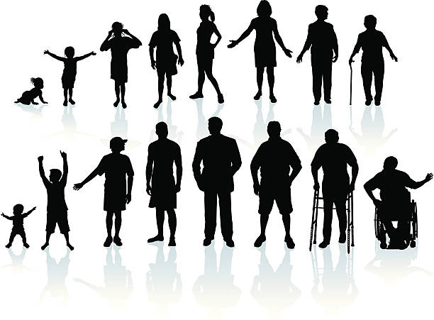Aging Process - People vector art illustration