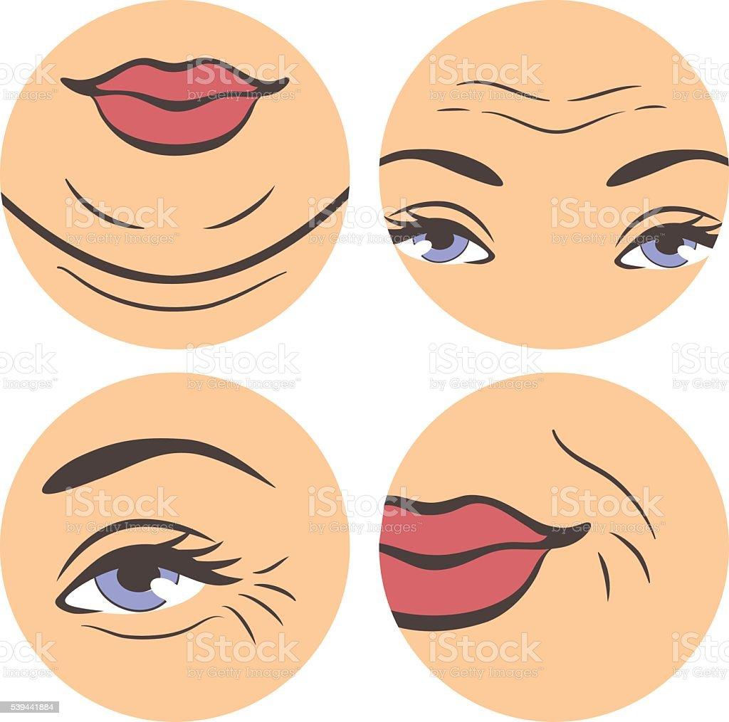 Aging troubles set vector art illustration