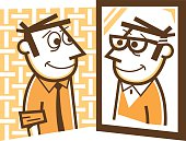 illustration of a man looking in the mirror, seeing himself growing older.