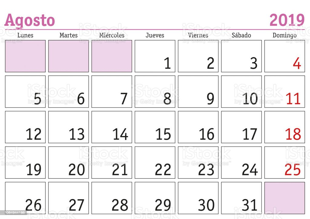 Calendario Fin De Semana 2019.Ilustracion De Agosto 2019 Pared Calendario Espanol Y Mas