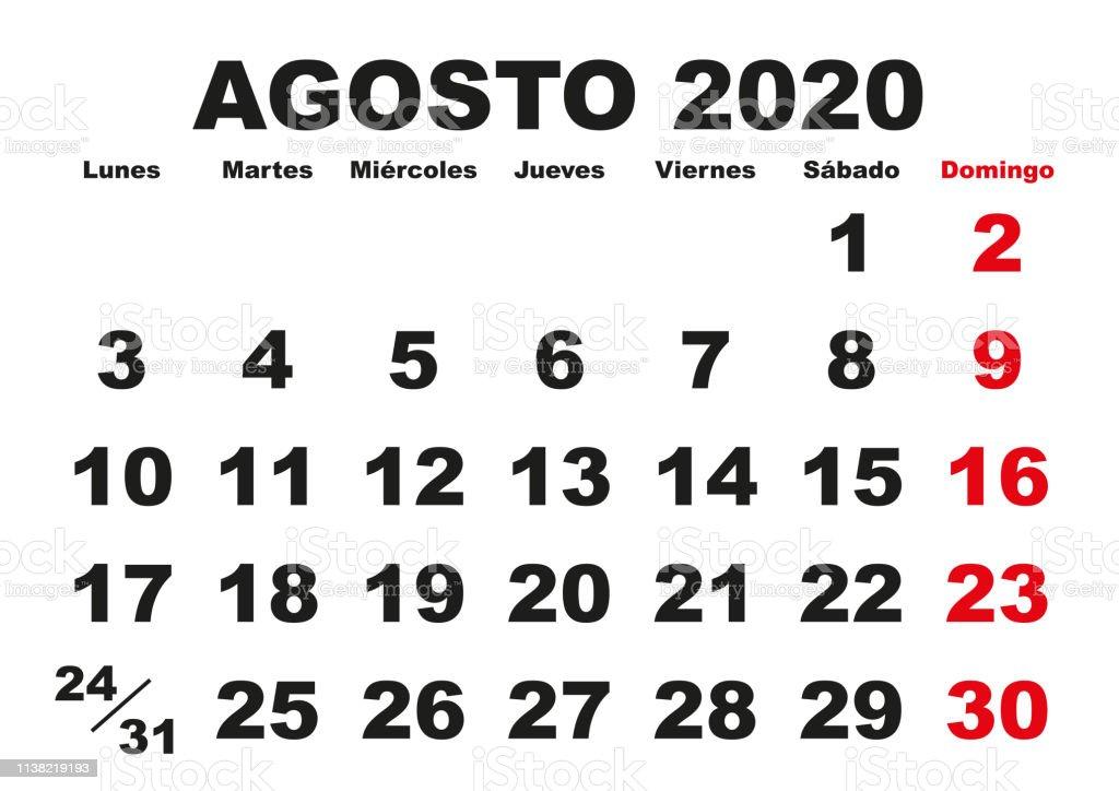 Calendario Agosto 2020 Espana.Ilustracion De Agosto 2020 Calendario De Pared Espanol Y Mas