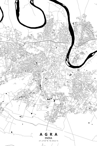Agra, India Vector Map