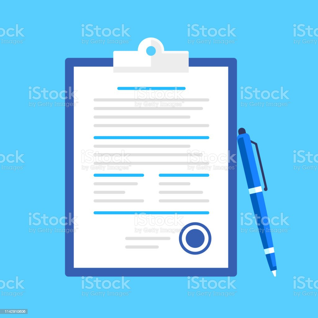 Agreement, contract, signing document concepts. Clipboard with...