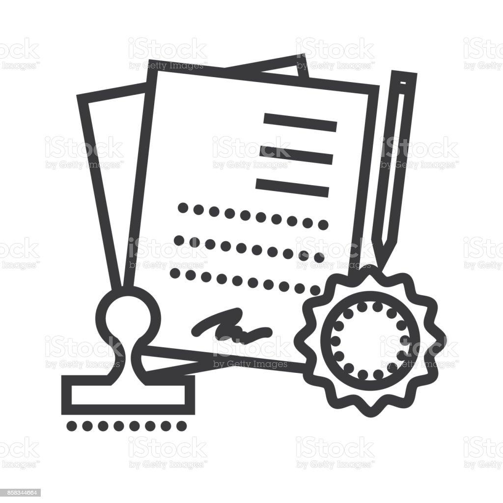 Vereinbarung Vertrag Vektor Liniensymbol Zeichen Illustration Auf