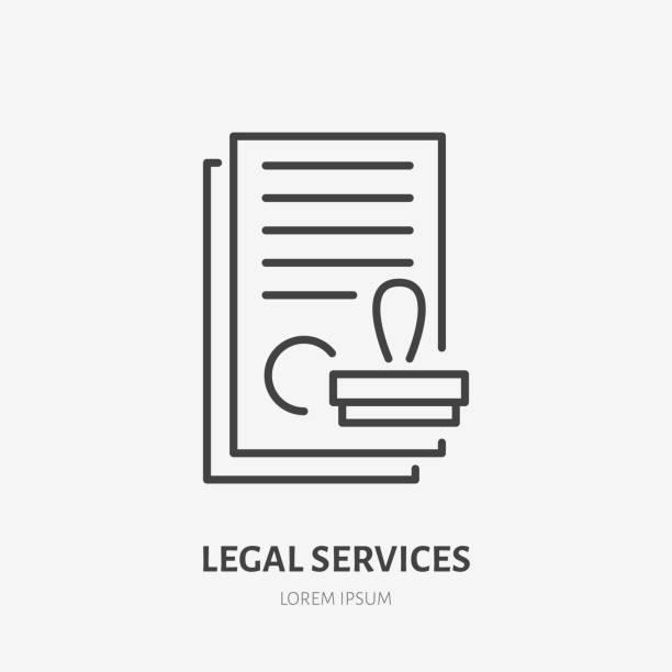 illustrations, cliparts, dessins animés et icônes de icône d'accord de ligne plate. documents papier avec signe de timbre. mince logo linéaire pour les services financiers juridiques, comptabilité - notaire