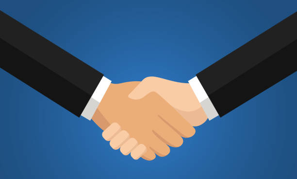 agreement hand shake - hand shake stock illustrations, clip art, cartoons, & icons