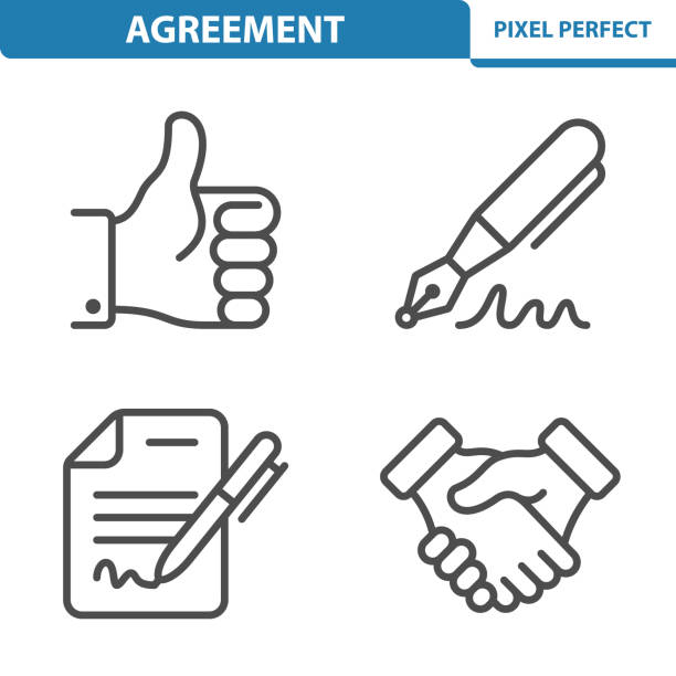 vereinbarung-symbole - unterschrift stock-grafiken, -clipart, -cartoons und -symbole