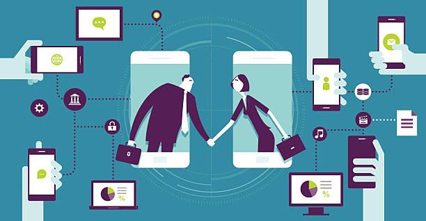 ilustraciones, imágenes clip art, dibujos animados e iconos de stock de de acuerdo - online meeting