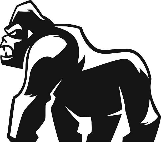 ilustraciones, imágenes clip art, dibujos animados e iconos de stock de gorila diseño agresivos - gorila