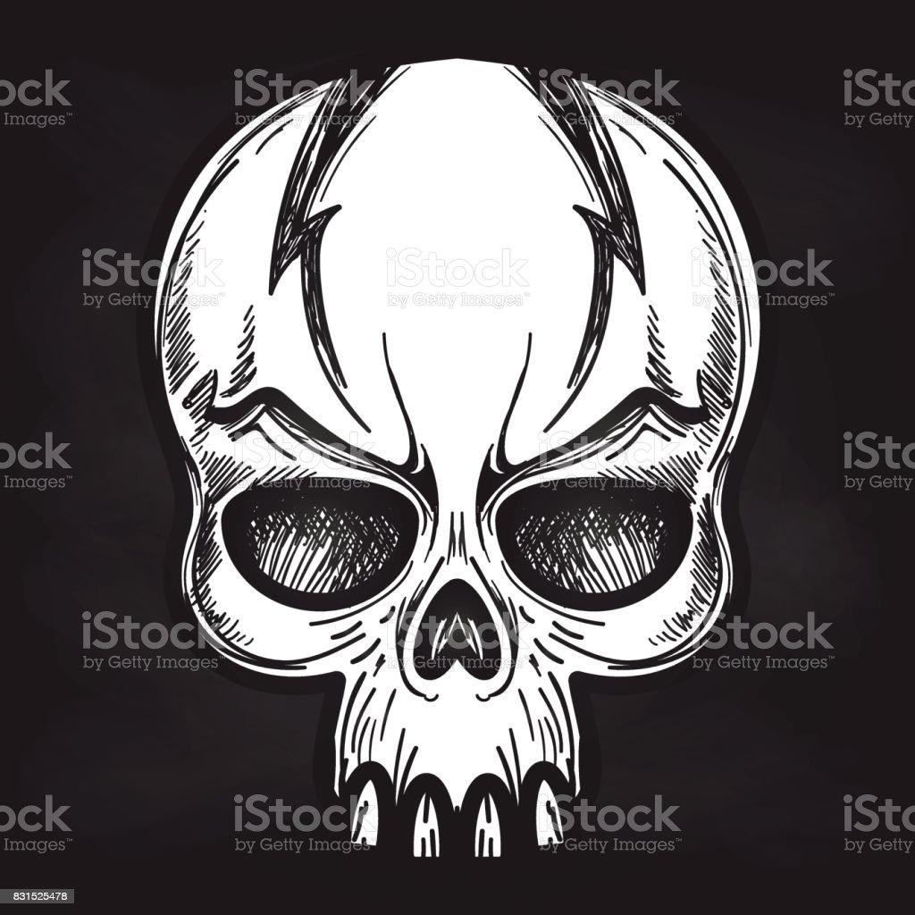 Aggressive Monster Schädel Auf Tafel Vektor Illustration 831525478 ...