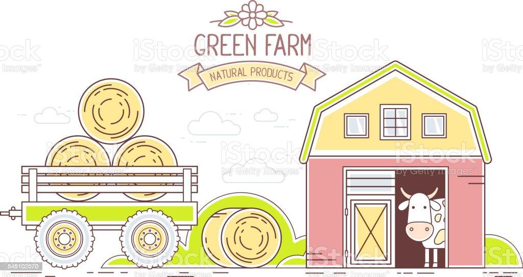 Agribusiness. Vector horizontal illustration of colorful farm life vector art illustration