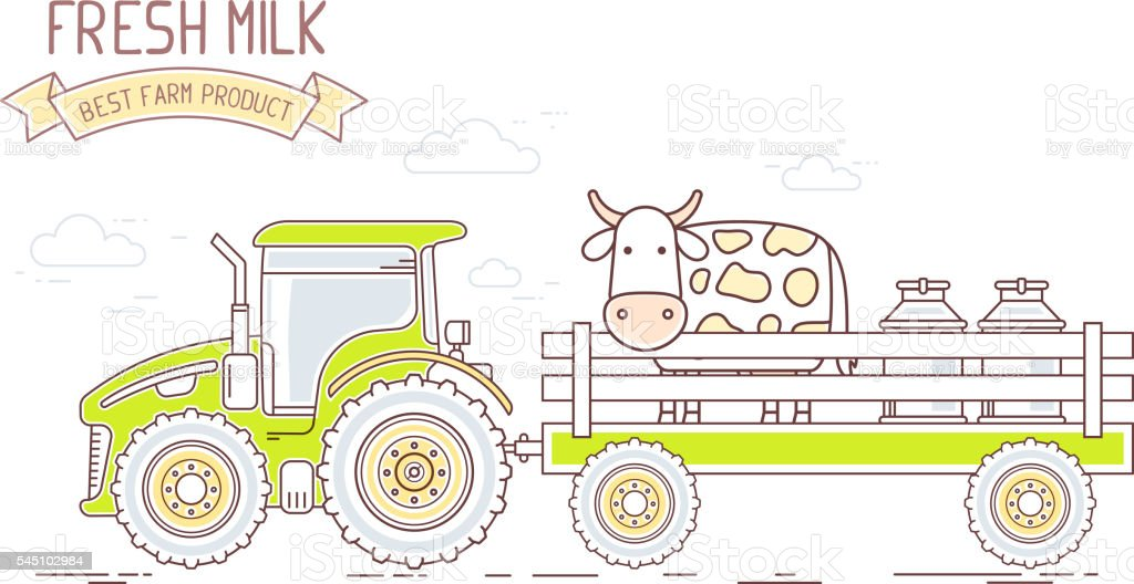 Tractor Cart Clip Art : Agribusiness vector illustration of farm tractor with