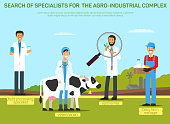 Agribusiness Workers Recruitment Banner Template. Hiring Agro-Industrial Complex Specialists. Recruiting Food Processing Expert, Veterinarian, Agronomist, Dairy Farm Manager Promo Poster Layout