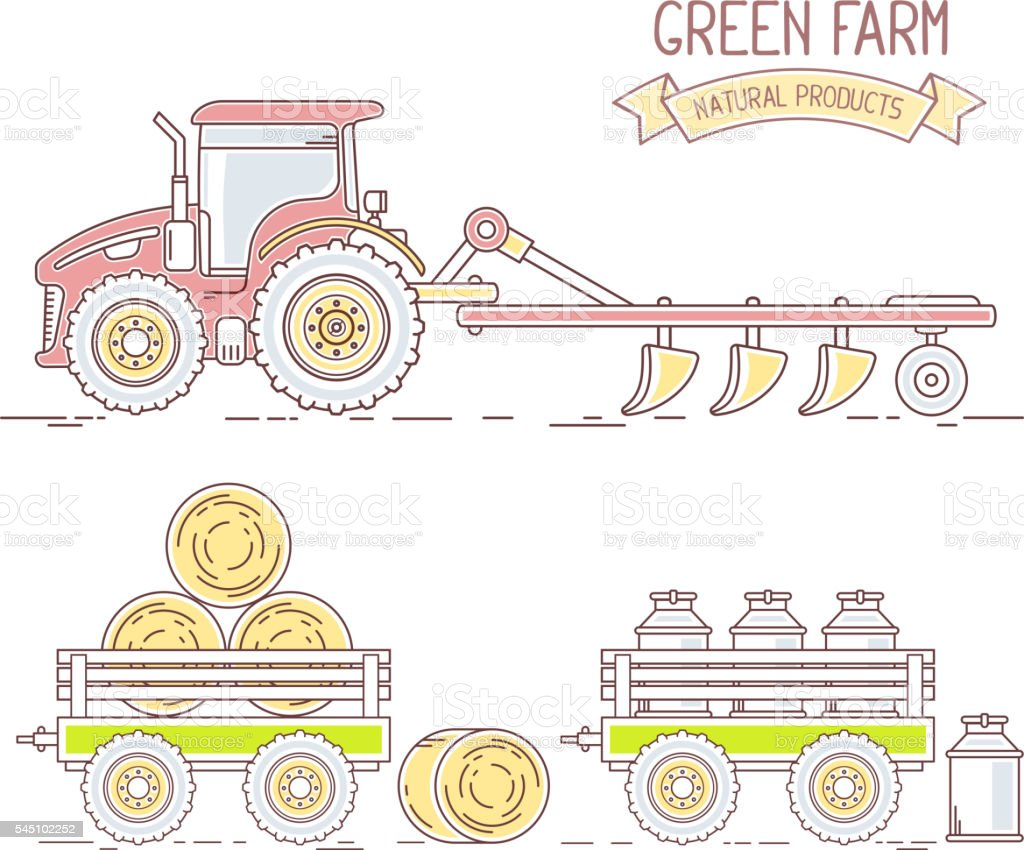 Agribusiness.Vector illustration of collection of farm tractor vector art illustration