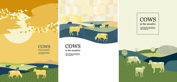 Agricultural background. Sunset. Cows made up of circles. Silhouettes of cows.