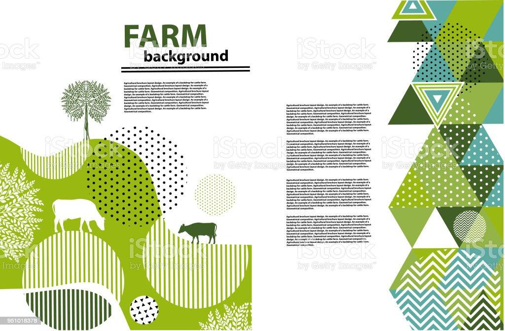 Design de brochures agricoles de mise en page. Un exemple de toile de fond pour la ferme. Composition géométrique. Fond pour couvertures, flyers, bannières - Illustration vectorielle