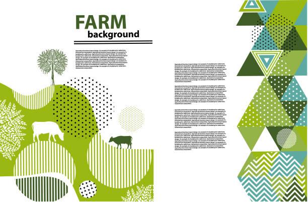 ilustrações, clipart, desenhos animados e ícones de projeto de layout de folheto agrícola. um exemplo de um cenário para a fazenda. composição geométrica. fundo para capas, panfletos, banners - animais da fazenda