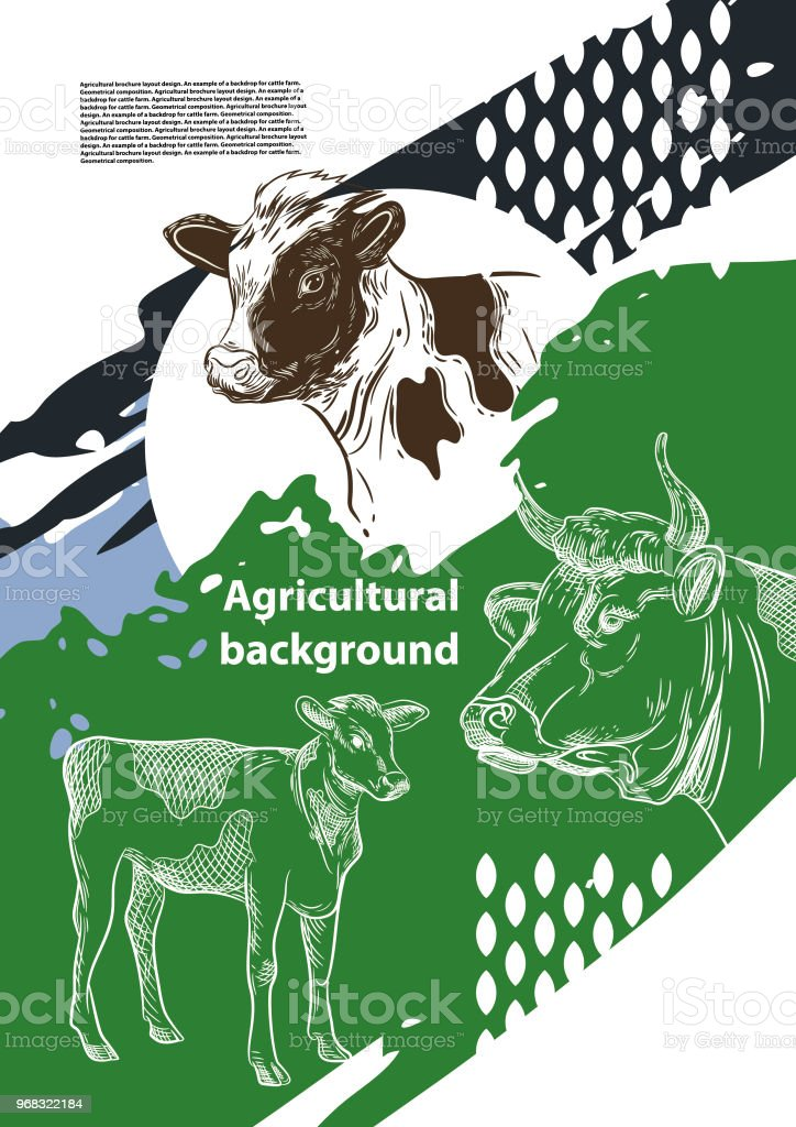 Agricultural brochure layout design. An example of a backdrop for cattle farm. Geometrical composition. Background for covers, flyers, banners vector art illustration