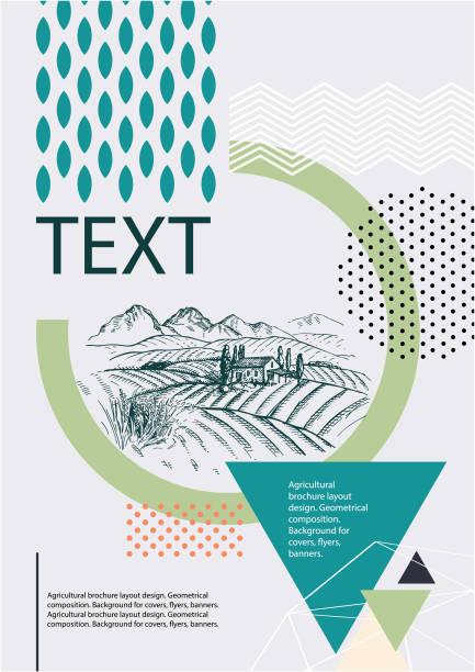 ilustrações de stock, clip art, desenhos animados e ícones de agricultural brochure layout design. geometrical composition. background for covers, flyers, banners. tuscan landscape. - agricultura