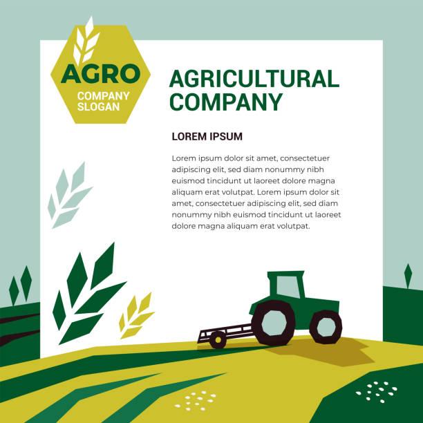 bildbanksillustrationer, clip art samt tecknat material och ikoner med designmall för jordbruksföretag - odla