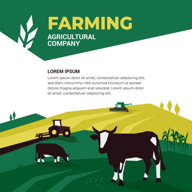 Agricultural company design template – artystyczna grafika wektorowa