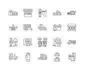 Agricultural contractors line icons, signs, vector set, outline illustration concept