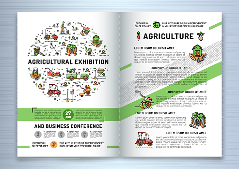 Agricultural Exhibition business brochure design template, flyer or card. Vector agriculture and gardening circle colorful infographics concept