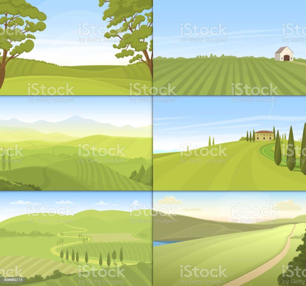 Agricultural farm field set vector. vector art illustration