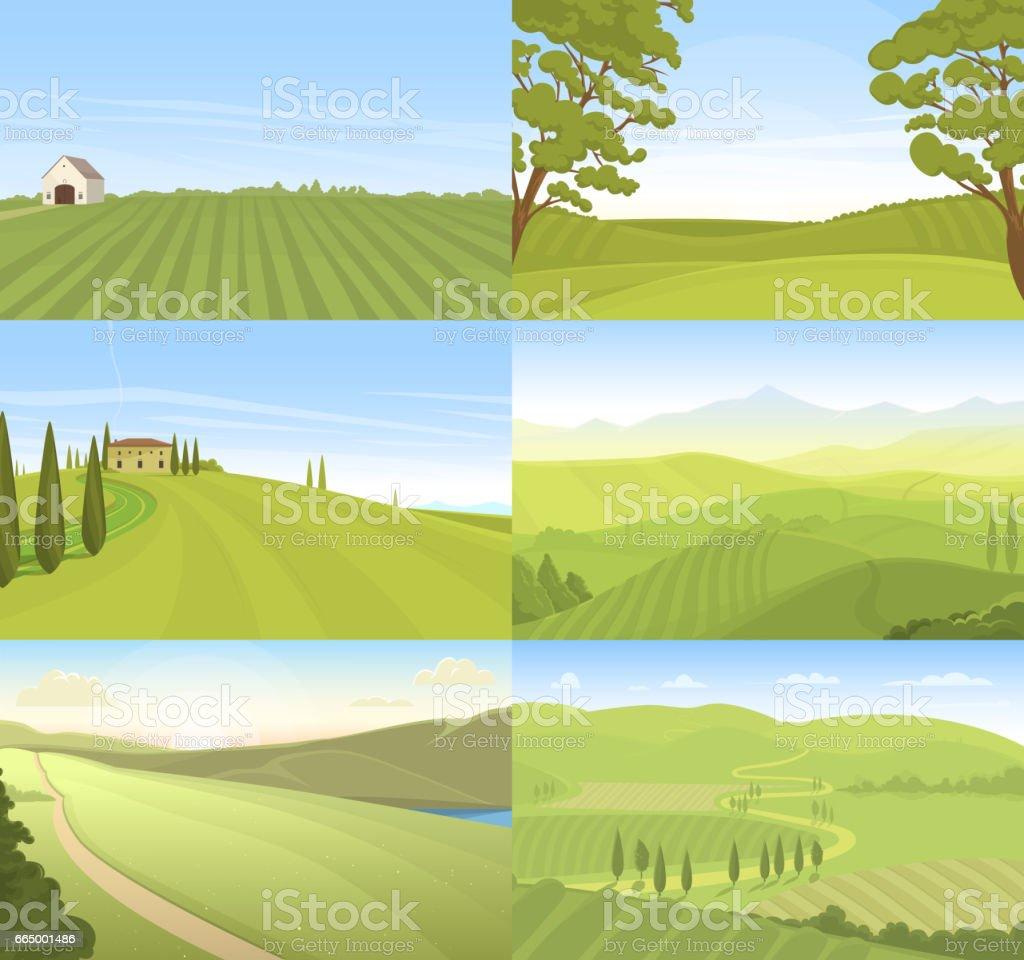 Agricultural farm field set vector vector art illustration