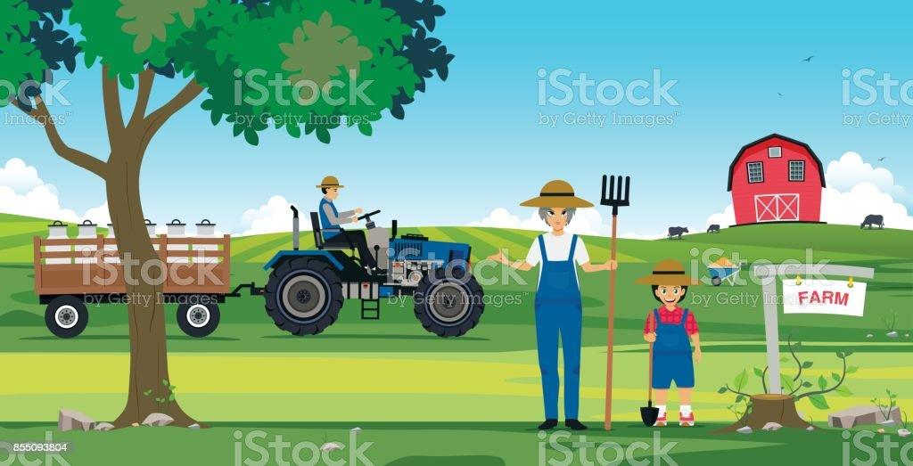 Fazenda agrícola - ilustração de arte em vetor
