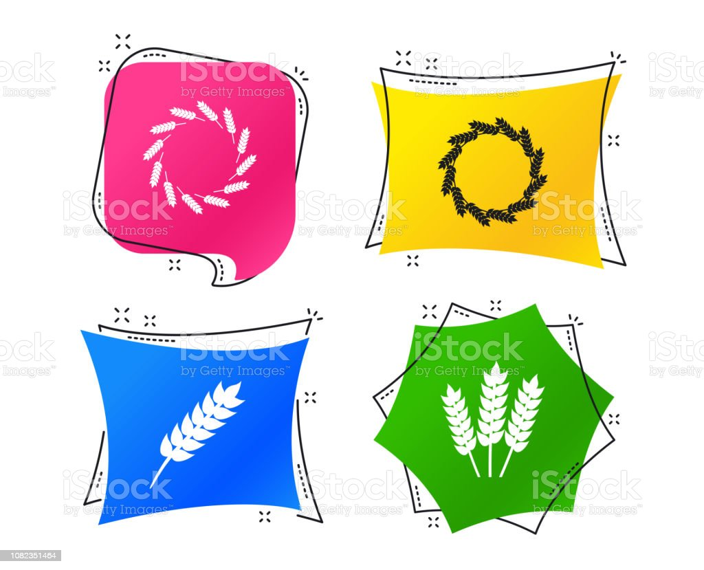 Agricultural Icons Gluten Free Symbols Vector Stock Illustration