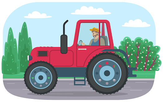Agricultural machine for cultivation. Man driving tractor. Farming machine for working in field