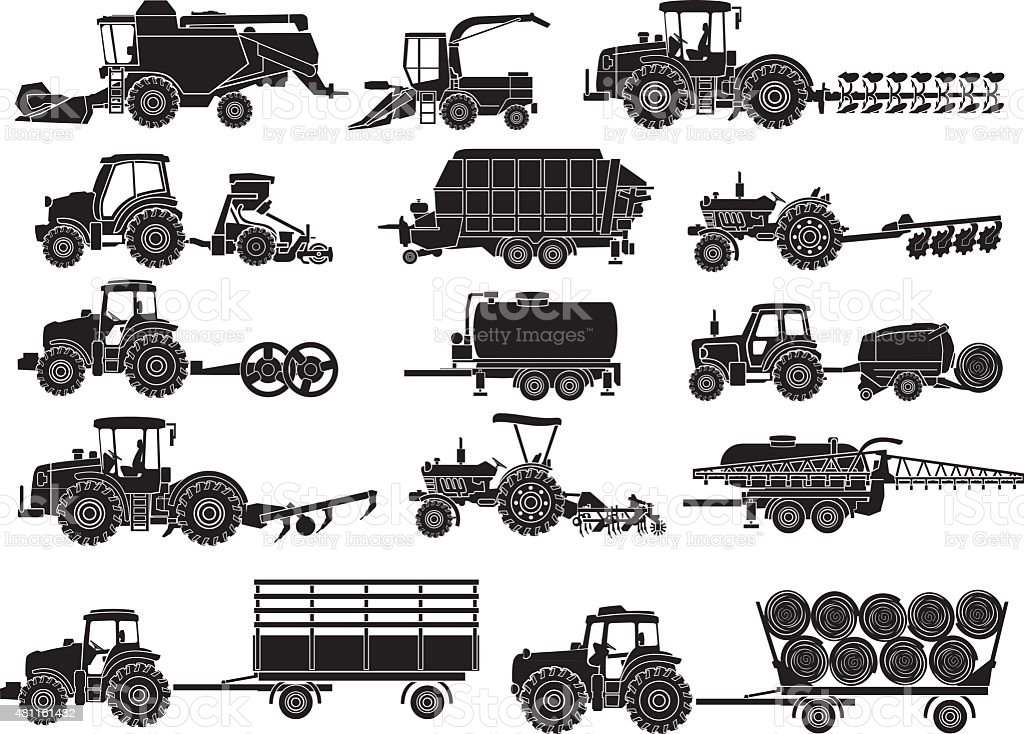 agricultural machine silhouettes vector art illustration