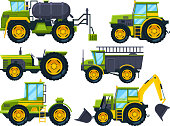 Agricultural machinery. Colored pictures in cartoon style. Vector machinery farm, equipment tractor for farming illustration