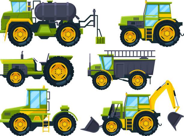 illustrazioni stock, clip art, cartoni animati e icone di tendenza di agricultural machinery. colored pictures in cartoon style - trattore