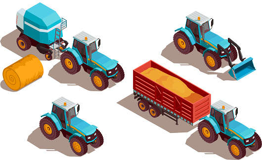 agricultural machines isometric composition
