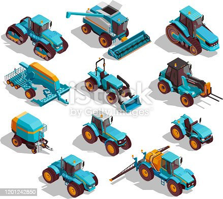 Agricultural machines isometric icons set with tractor and sprayer isolated vector illustration