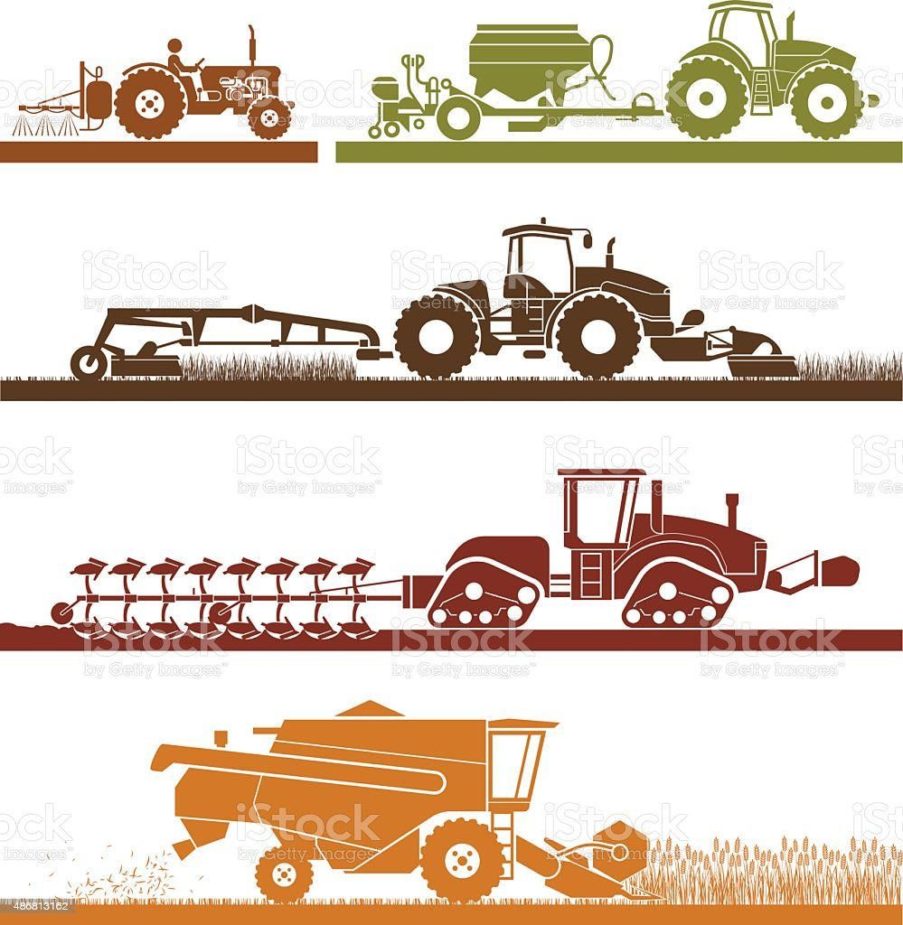 Agricultural mechanization icons. vector art illustration