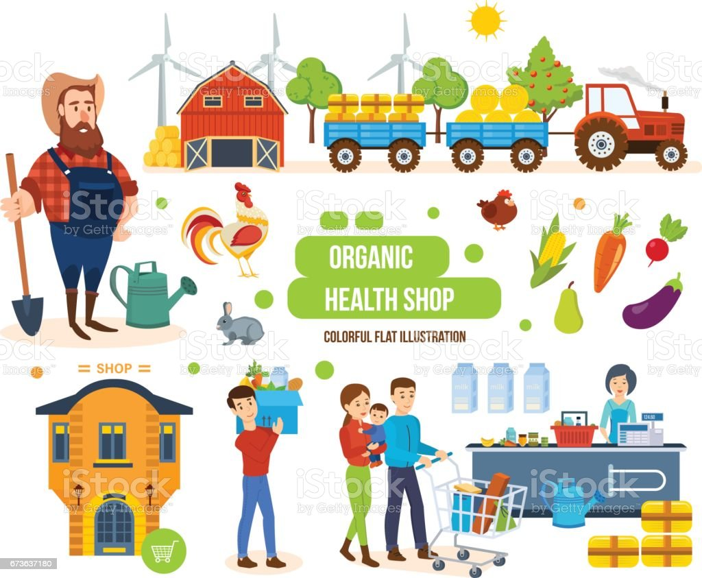 Agricultural products, livestock, purchase, sale of goods and delivery - Illustration vectorielle