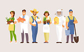 Set of agriculture professions. Farmer, breeder, gardener, veterinarian beekeeper Vector characters