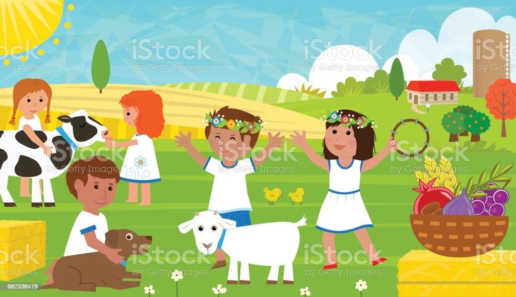 Agricultural Shavuot royalty free agricultural shavuot stockvectorkunst en meer beelden van cartoon