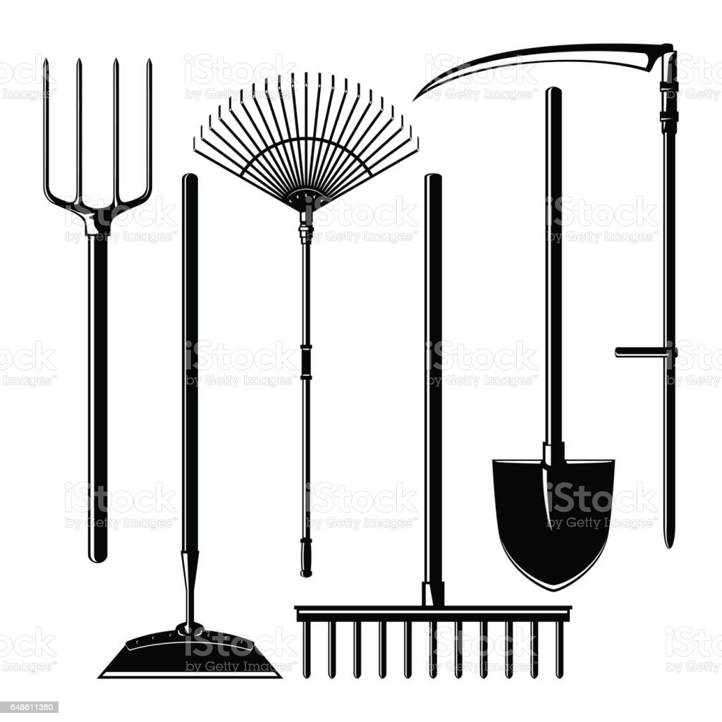 Agricultural Tools Isolated on White Background vector art illustration