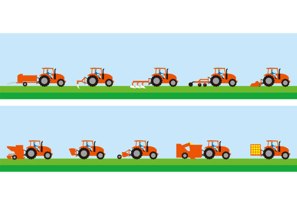 bildbanksillustrationer, clip art samt tecknat material och ikoner med jordbrukstraktorer och jordbruksarbetet - traktor pulling