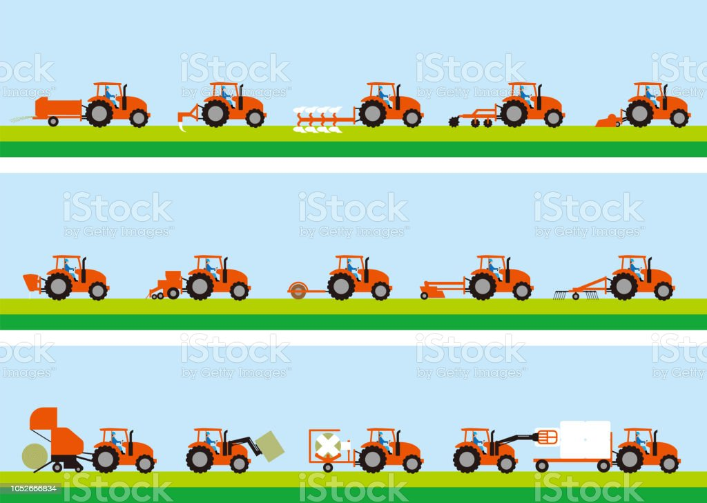 Agricultural tractor and grass cultivation vector art illustration